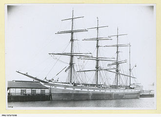 Hougomont (barque) - Image: Hougomont docked in an unidentified port (PRG 1373 15 80)