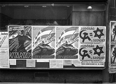 Propaganda posters in Budapest, 1944 Hungary, Budapest Fortepan 72907.jpg