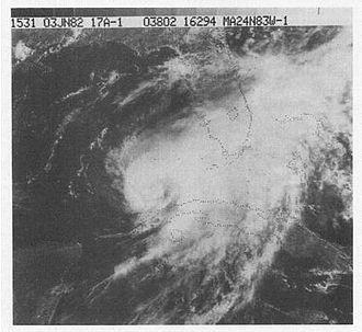 1982 Atlantic hurricane season - Image: Hurricane Alberto (1982)