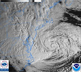 Hurricane Sandy is seen via satellite.
