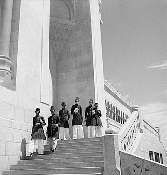 Osmania University - Students dressed in sherwani at the University College of Arts, c. 1939-1945.