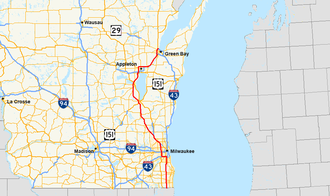 Interstate 41 - Image: I 41 (WI) map