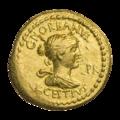 INC-1813-a Ауреус ок. 43 г. до н. э. Монетарии Октавиан Люций Цестий и Гай Норбан (аверс).png