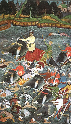 Akbarnama - Mughal Emperor Akbar crossing the river at night.
