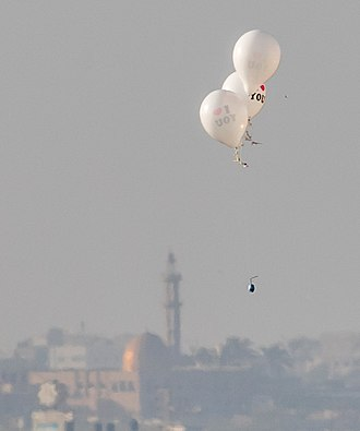 Incendiary balloon - Helium balloons bearing flammable materials launched from Bureij in the Gaza Strip