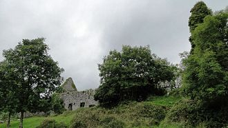 Corofin, County Clare - Inchiquin Castle. View of the outside, main building on the left, overgrown tower to the right.