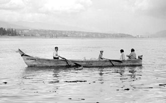 Stanley Park - A traditional seagoing canoe dug out of a single cedar tree using stone tools. For years, hundreds of such canoes competed in local Dominion Day celebrations.