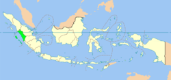 Map indicating the location of West Sumatra in Indonesia