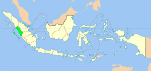 Map showing West Sumatra within Indonesia