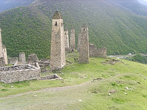 Dzheyrakhsky District - Defense towers in the selo of Erzi in Dzheyrakhsky District