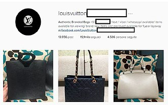 Counterfeit consumer goods - Instagram spambots featuring Louis Vuitton, selling counterfeit luxury items of different brands
