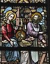 interieur kleine kapel, noordertransept, detail glas in loodraam met jozefaltaar - lith - 20334117 - rce