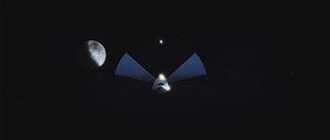 SpaceX Mars transportation infrastructure - Interplanetary Spaceship departing Earth, passing the Moon.