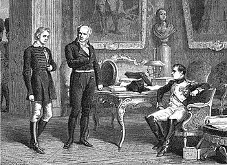 Treaty of Schönbrunn - Staps is interrogated by Napoleon and his physician Jean-Nicolas Corvisart, 1866 depiction