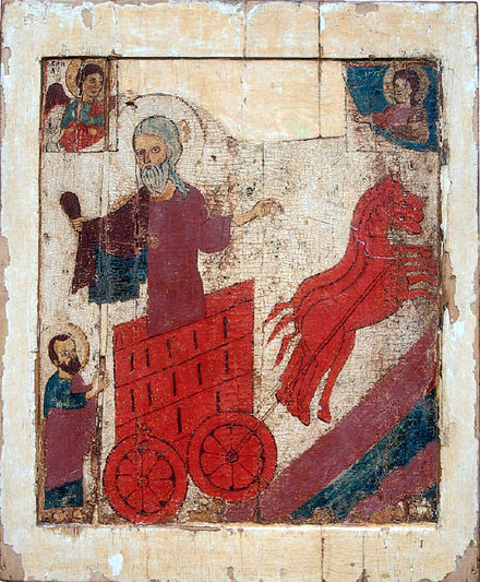 A Northern Russian icon from ca. 1290 showing the ascent of Elijah toward heaven Intesa elijah.jpg