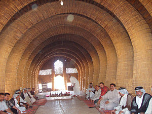 Zanj Rebellion - The interior of a mudhif, a traditional Marsh Arab guesthouse made entirely out of reeds.