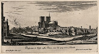Paris in the 17th century - The Île de la Cité and Cathedral of Notre Dame in the 17th century