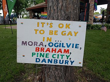 It's OK to be gay... sign 2 at ECM Pride 2018.jpg