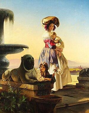 Carl Timoleon von Neff - Image: Italian woman with children on the stairs