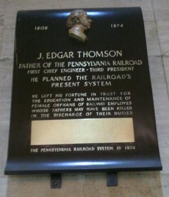 John Edgar Thomson - A plaque commemorating the career of John Edgar Thomson, hanging in Philadelphia's 30th Street Station, a former Pennsylvania Railroad Station.