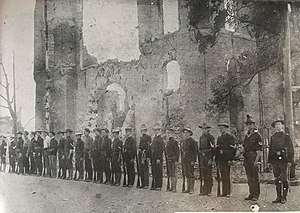 Metropolitan Light Infantry - Jacksonville Rifles in front of their old armory after the May 3, 1901 fire of Jacksonville