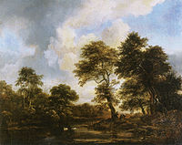 Jacob van Ruisdael - Wooded landscape with swans in a pond.jpg