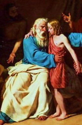 Miketz - Jacob Refusing To Let Benjamin Go to Egypt (1829 painting by Adolphe Rogers)