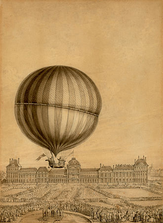 Jacques Charles - Contemporary illustration of the first flight by Prof. Jacques Charles with Nicolas-Louis Robert, December 1, 1783. Viewed from the Place de la Concorde to the Tuileries Palace (destroyed in 1871)