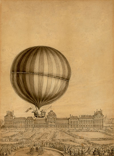 Contemporary illustration of the first flight by Professor Jacques Charles, December 1, 1783 Jacques Charles Luftschiff.jpg