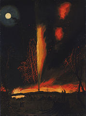 Burning Oil Well at Night, near Rouseville, Pennsylvania