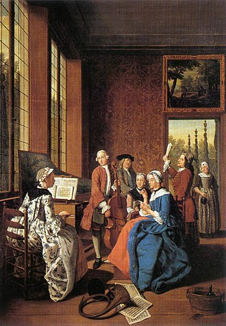 1750–75 in Western fashion - A concert in an Interior by Jan Josef Horemans the Younger of Antwerp, 1764. The women's sack-back gowns and the men's coats over long waistcoats are characteristic of this period.