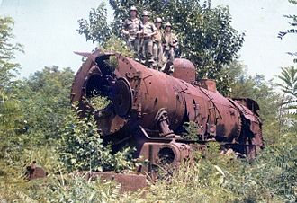 Korean State Railway - The ruins of steam locomotive Matei 10, destroyed during the Korean War, at Changdan in 1976.