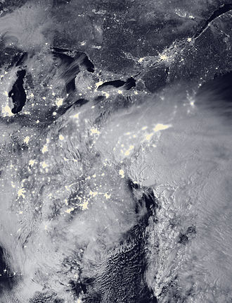 January 2016 United States blizzard - The intensifying extratropical cyclone responsible for the blizzard over the Northeastern United States, at 2:15 a.m. EST (07:15 UTC) on January 23, 2016.