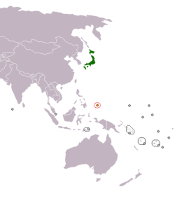 Map indicating locations of Japan and Palau
