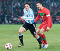 Javier Zanetti (L), Cristiano Ronaldo (R) – Portugal vs. Argentina, 9th February 2011 (2).jpg
