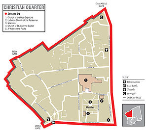 Muristan - Map of the Christian Quarter in Jerusalem, the Muristan with the Church of St. John is shown lower right-hand corner (click image to enlarge).