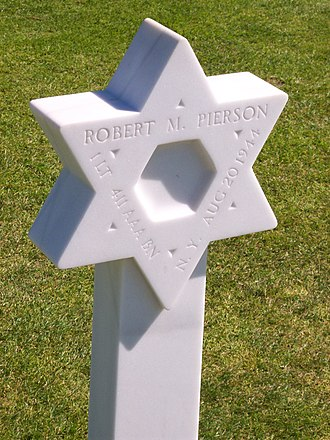 Military history of Jewish Americans - Grave of a Jewish American soldier at Normandy. An inscription on the stone reveals that the soldier was a first lieutenant from New York who served in the 411th Antiaircraft Artillery Gun Battalion.