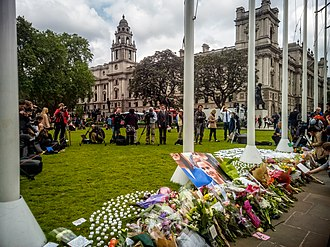 Murder of Jo Cox - Cox's memorial at Parliament Square in London on 17 June 2016