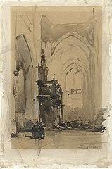 Gezicht op het oxaal van de Sint-Janskathedraal te 's-Hertogenbosch