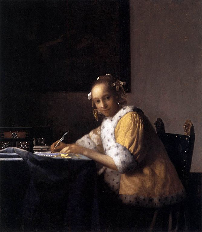 jan vermeer a lady writing a letter