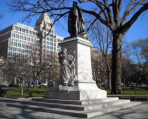 Franklin Square (Washington, D.C.) - Commodore John Barry (Boyle) is located on Franklin Square's western border. One Franklin Square, the tallest commercial building in Washington, D.C., is visible in the background.