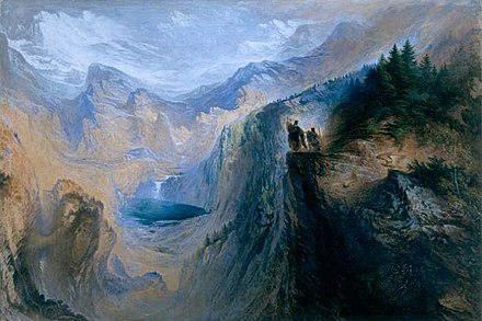 Manfred on the Jungfrau (1837), John Martin. Watercolor painting John Martin - Manfred on the Jungfrau (1837).jpg