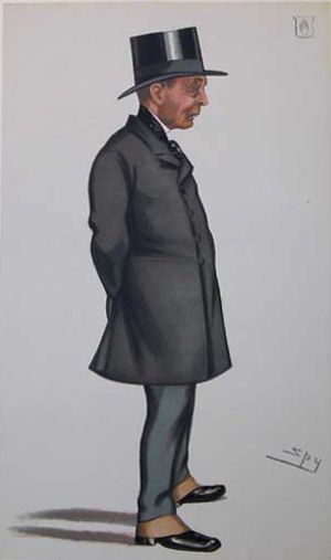"Sir John Mowbray, 1st Baronet - ""Committee of Selection"" Mowbray as caricatured by Spy (Leslie Ward) in Vanity Fair, April 1882"