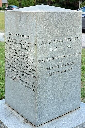 John A. Treutlen - Treutlen monument in Ebenezer, Georgia.