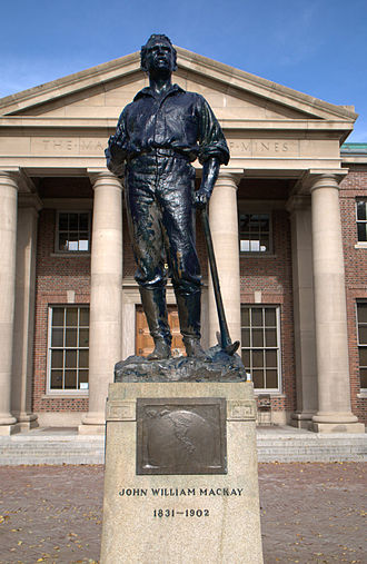 John William Mackay - Statue of John William Mackay in front of Mackay School of Mines building, by Gutzon Borglum dedicated June 1908.