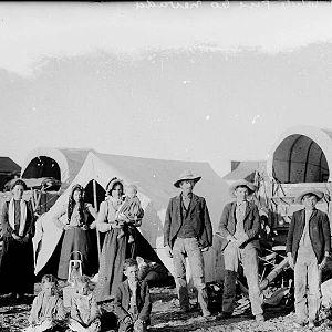 Lund, Nevada - Pioneer Joseph Smith Leavitt and family in Lund, ca. 1902