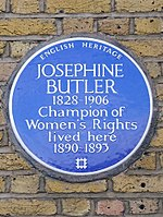 "Circular blue plaque with the words ""Josephine Butler / 1826–1906 / Champion of / Women's Rights / lived here / 1890–1893"""