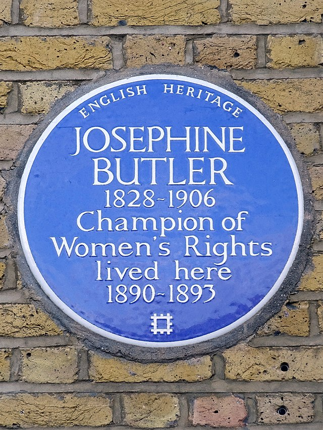 Josephine Butler blue plaque - Josephine Butler 1828-1906 champion of women's rights lived here 1890-1893