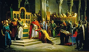 "El Cid - Marcos Giráldez de Acosta painting (1864) depicting the ""Santa Gadea Oath"". In the middle of the scene, Alfonso VI (with red cape) is swearing with his right hand on the Bible that he did not take part in the murder of his brother Sancho II, while El Cid stands as a witness in front of him."