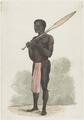 KITLV - 36A229 - Borret, Arnoldus - Man with paddle over his shoulder - Water colour - Circa 1880.tif
